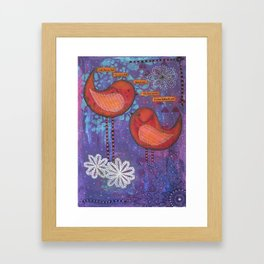 Whimsical Soul Birds Mixed Media Framed Art Print