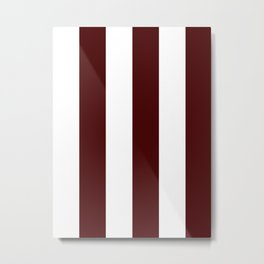 Wide Vertical Stripes - White and Bulgarian Rose Red Metal Print
