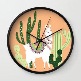 Cute Llama with Cactus Wall Clock
