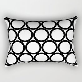 Modern Geometric White and Black Rings Rectangular Pillow