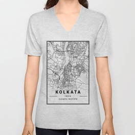 Kolkata Light City Map Unisex V-Neck