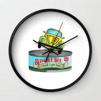 transformers Wall Clocks featuring Transformers G1 Bumbleebee Tuna by DarkCrow