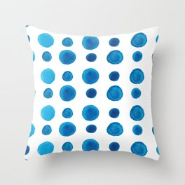 Watercolor blue dots Throw Pillow