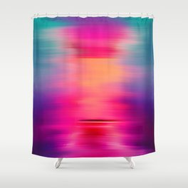 Abstract modern art pink violet teal brushstrokes Shower Curtain