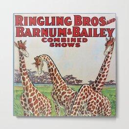 1930's Ringling Brothers & Barnum and Bailey Circus 'Giraffe' Poster Metal Print