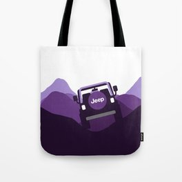 Jeep 'Driving' Purple Mountain Tote Bag