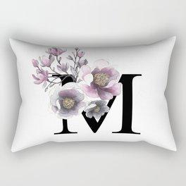 Letter 'M' Magnolia Flower Typography Rectangular Pillow