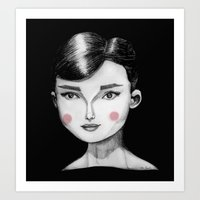hepburn Art Prints featuring Audrey Hepburn by Maripili