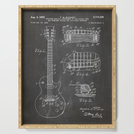 Gibson Guitar Patent - Les Paul Guitar Art - Black Chalkboard Serving Tray