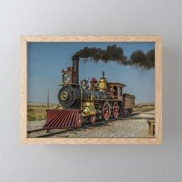 UP 119 Golden Spike Utah Steam Locomotive Historic Train Framed Mini Art Print