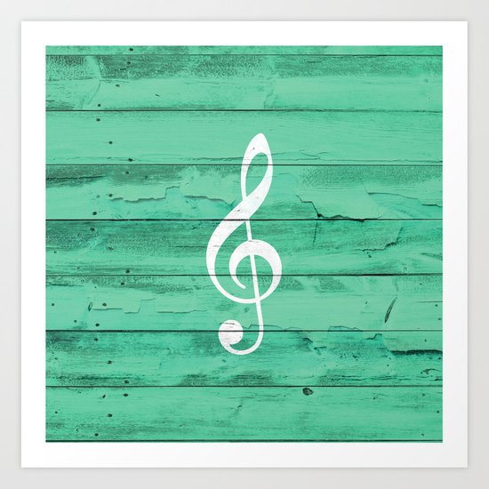 Hipster White Music Note Girly Turquoise Wood Art Print