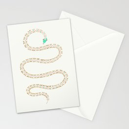 Cute snake in pink green and gold paint Stationery Cards