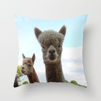 alpaca Throw Pillows featuring Alpaca by SC Photography