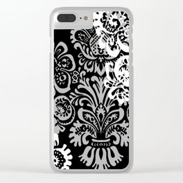 Black and Gray Damask Clear iPhone Case