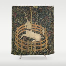 Vintage Fenced in Unicorn Painting (1505) Shower Curtain