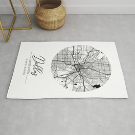 Dallas Area City Map, Dallas Circle City Maps Print, Dallas Black Water City Maps Rug