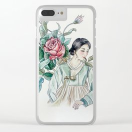 Roses (Hanbok girls) Watercolor Clear iPhone Case