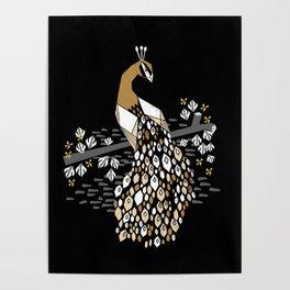 Feather - peacock art print, linocut art print, bird art, birds, birding, birder, Poster