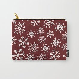 Snowflakes Pattern (Maroon) Carry-All Pouch