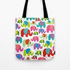 Colorful india elephant kids illustration pattern Tote Bag