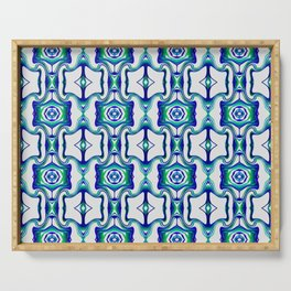 Blue Turquoise Green Line Pattern Serving Tray