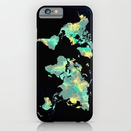 world map 87 green blue iPhone Case