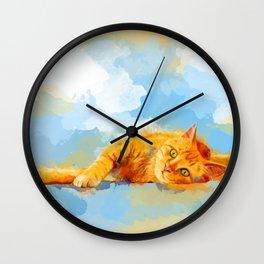 Cat Dream - orange tabby cat painting Wall Clock