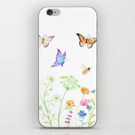 Watercolor Wildflower Meadow and Butterflies iPhone Skin