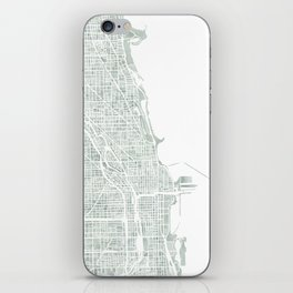 Map Chicago city watercolor map iPhone Skin