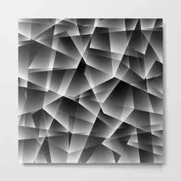 Metallic mosaic pattern of chaotic black and white fragments of glass, foil, glare and silver. Metal Print