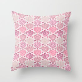 Pink Heart Valentine's Doilies Pattern Throw Pillow