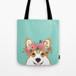 Corgi Portrait - dog with flower crown cute corgi dog art print Tote Bag