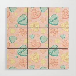 Introvert Conversation Hearts Wood Wall Art