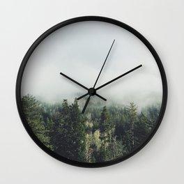 Foggy Treetops Wall Clock