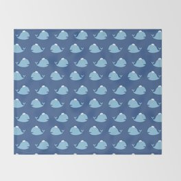Cute nautical blue teal white funny whale pattern Throw Blanket