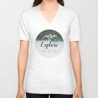 explore V-neck T-shirts featuring Explore by Quellasenzanick