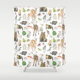 Woodland Animals Watercolor Shower Curtain