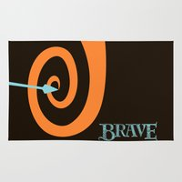 be brave Area & Throw Rugs featuring Brave by Citron Vert