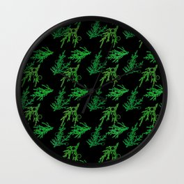 Juniper Sprigs (Black Glow) - Forest Wall Clock