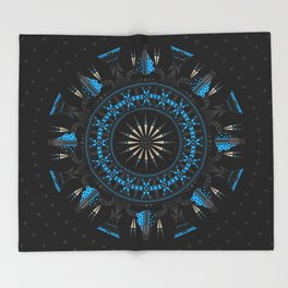Buffalo Skull and Feathers (Blue) Throw Blanket
