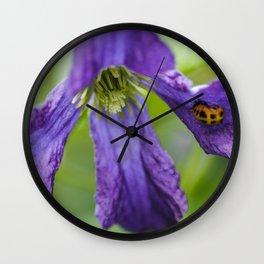 Ladybug on a petal Wall Clock