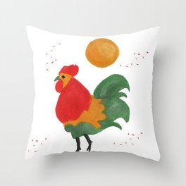 Celebratory Rooster Throw Pillow