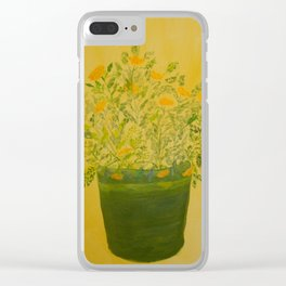 Marigolds in Pot Acrylic Art hand-painted by Rosie Foshee Clear iPhone Case