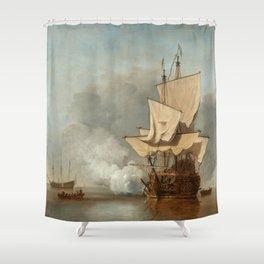 """Willem van de Velde II (Dutch Golden Age) """"Het Kanonschot (The Cannon Shot)"""" Shower Curtain"""