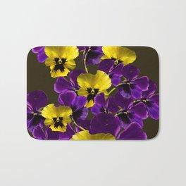 Purple And Yellow Flowers On A Dark Background #decor #buyart #society6 Bath Mat