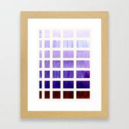 Purple Minimalist Mid Century Grid Pattern Staggered Square Matrix Watercolor Painting Framed Art Print