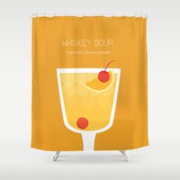 alcohol Shower Curtains featuring Whiskey Sour - Alcohol by Stacia Elizabeth