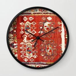 Hotamis  Antique Turkish Karapinar  Kilim Print Wall Clock