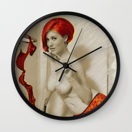 Vintage Pinup Digital Painting Wall Clock