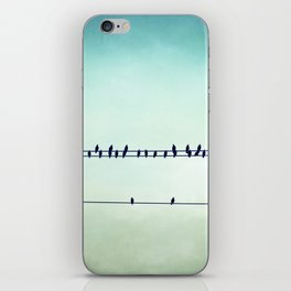 Aqua Birds on Wire Photography, Teal Bird on Wires, Turquoise Nature Art iPhone Skin